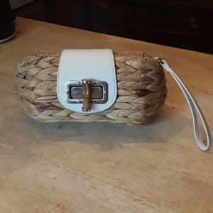 Cato 100% straw clutch with white faux leather